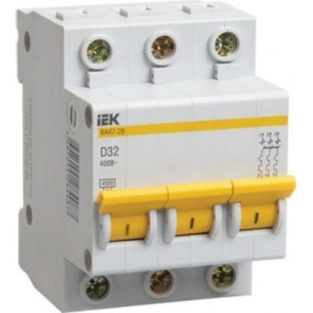 Автоматический 3-полюсный выключатель, 25А, D ВА47-29 4.5кА IEK MVA20-3-025-D
