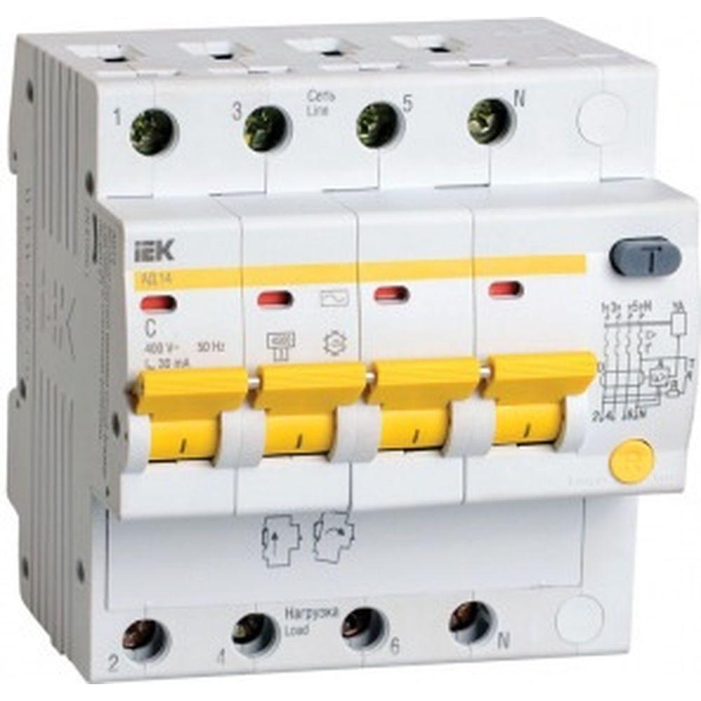 Дифавтомат АД-14 4п, C, 16А, 30мА IEK MAD10-4-016-C-030