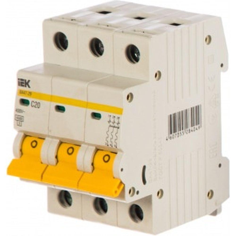 Автоматический 3-полюсный выключатель, 20А, С ВА47-29 4.5кА IEK MVA20-3-020-C