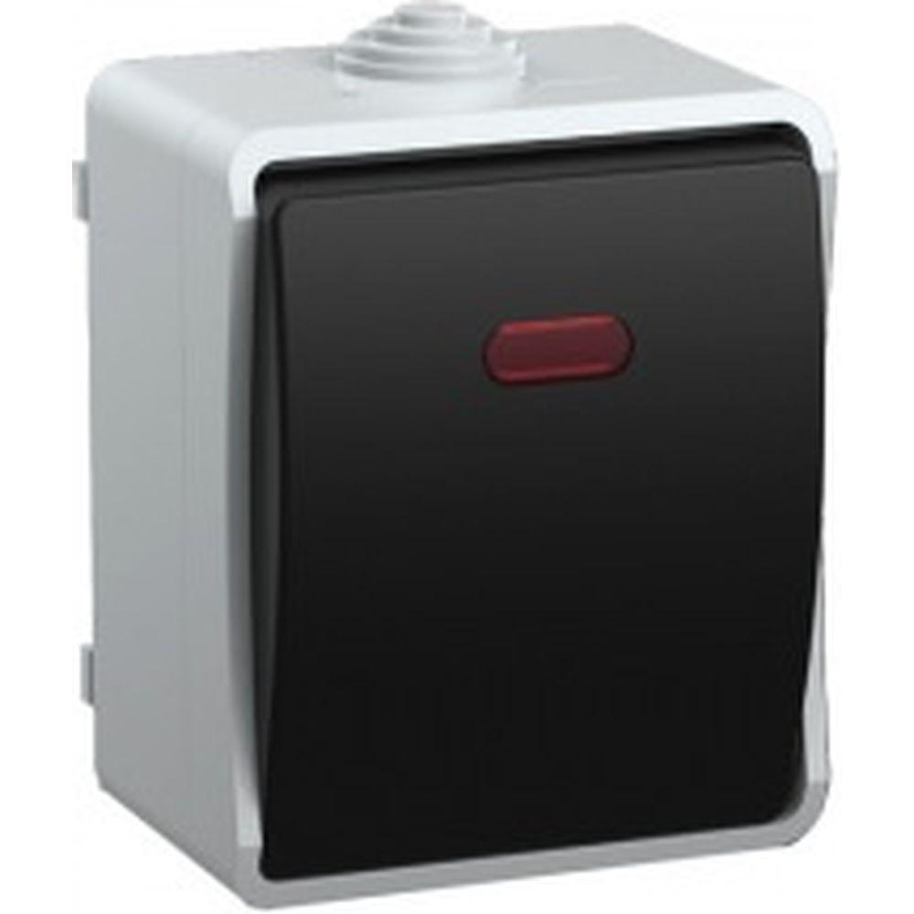 1-клавишный выключатель с подсветкой IEK ВС20-1-1-ФСр ФОРС, ОП, 10А, серый, IP54, ИЭК EVS11-K03-10-54-DC