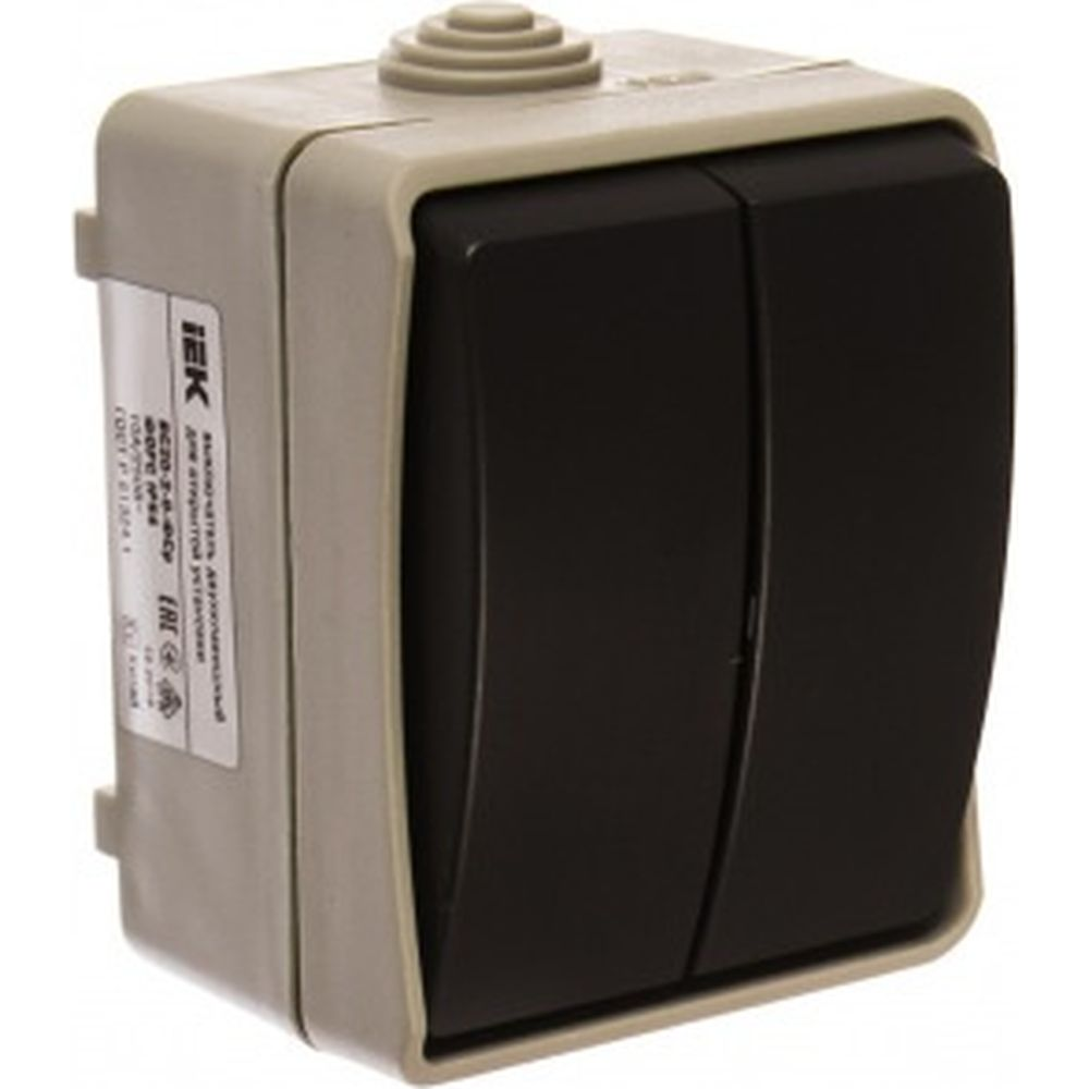 2-клавишный выключатель IEK ОП Форс 10А IP54 ВС20-2-0-ФСр ИЭК EVS20-K03-10-54-DC