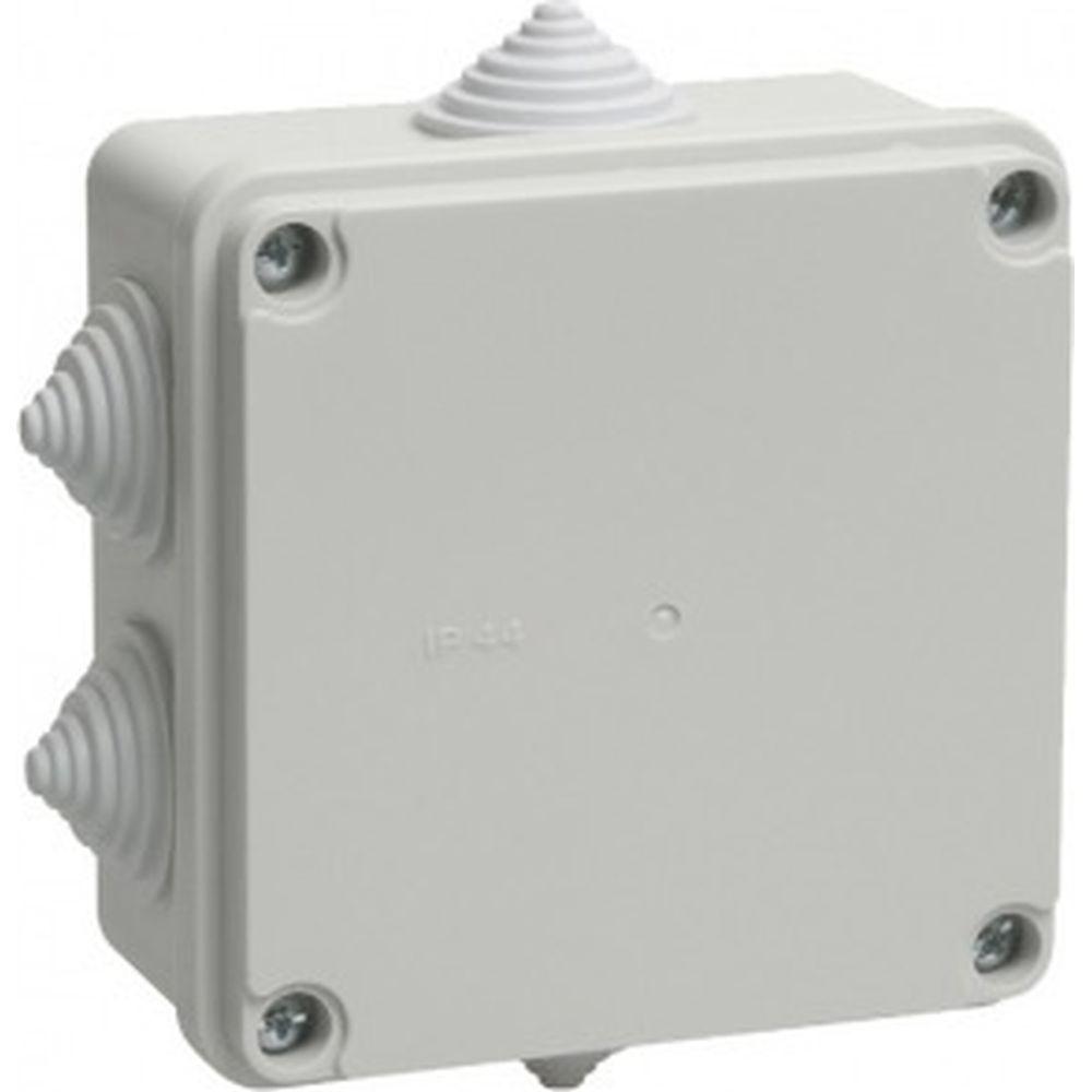 Распаячная коробка IEK открытой проводки, открытой проводки, 100x100x50, IP44, KM41233, 6 кабель вводов, ИЭК UKO11-100-100-050-K41-44