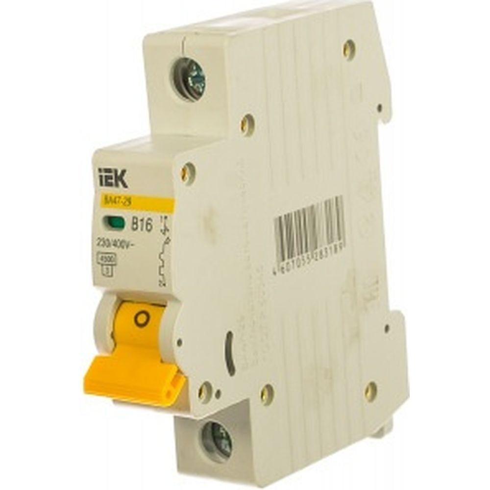 Автоматический 1-полюсный выключатель IEK 16А, В ВА47-29 4.5кА MVA20-1-016-B