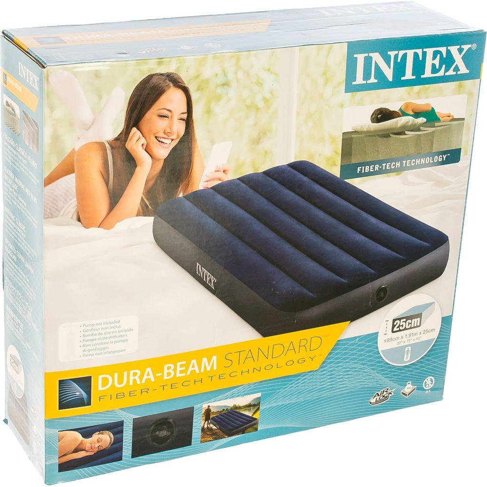 Надувной матрас Intex Classic Downy Airbed Fiber-Tech, 99 х 191 х 25 см 64757