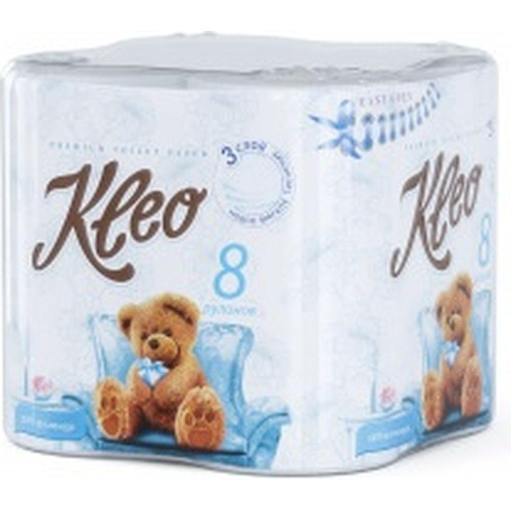 Бумага туалетная Kleo Ultra белая, 3 слоя, 8 рулонов С130