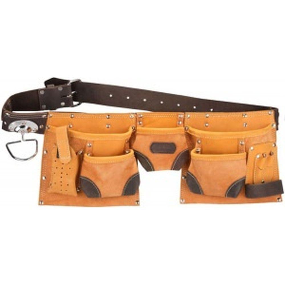 Пояс для инструментов из натуральной кожи (9 карманов) KRAFTOOL 1-38520