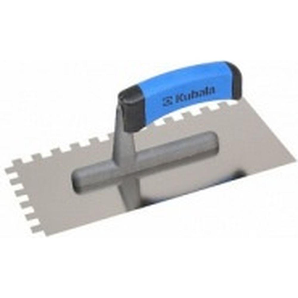 Зубчатая гладилка из нержавеющей стали KUBALA 130x270 мм, зуб 12x12 мм, ручка G-1 0205