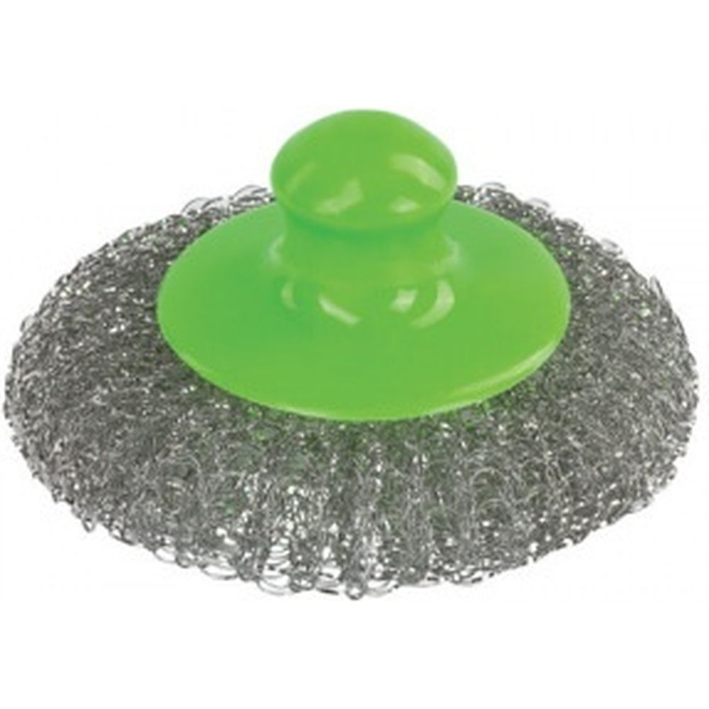 Металлическая сетчатая губка-мочалка для посуды ЛАЙМА с пластиковой ручкой 20г 605033