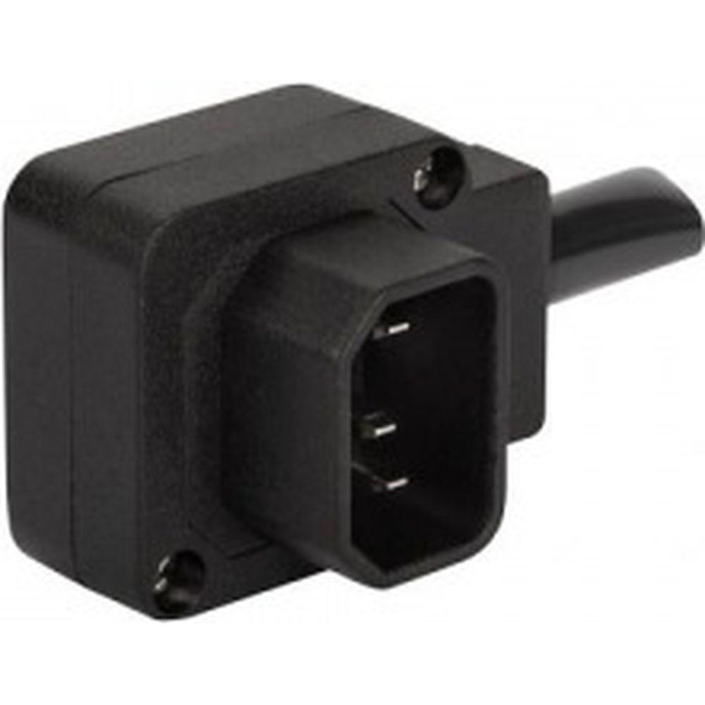 Вилка LANMASTER IEC 60320 C14, 10A, 250V, угловая, разборная, черная LAN-IEC-320-C14/90