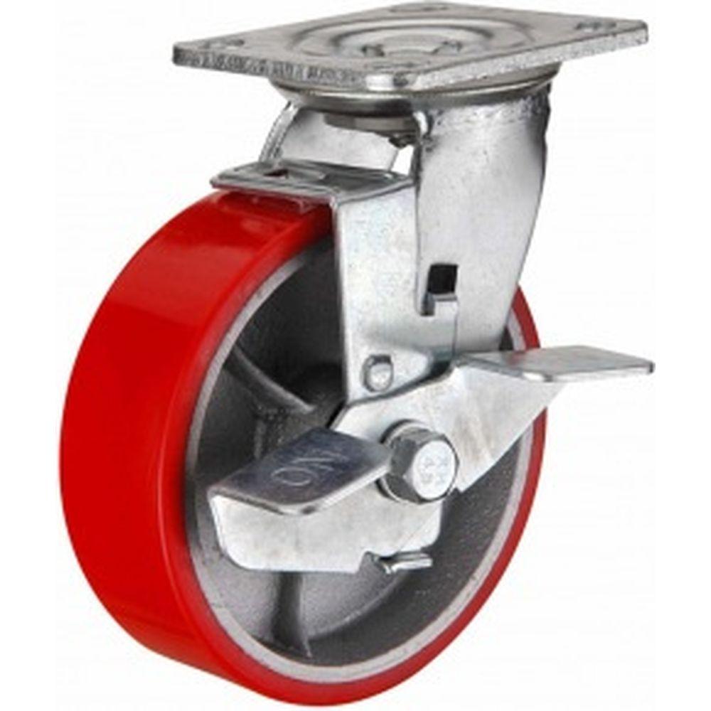 Колесо большегрузное полиуретановое поворотное с тормозом Medium 100 мм MFK-TORG 1044100 M