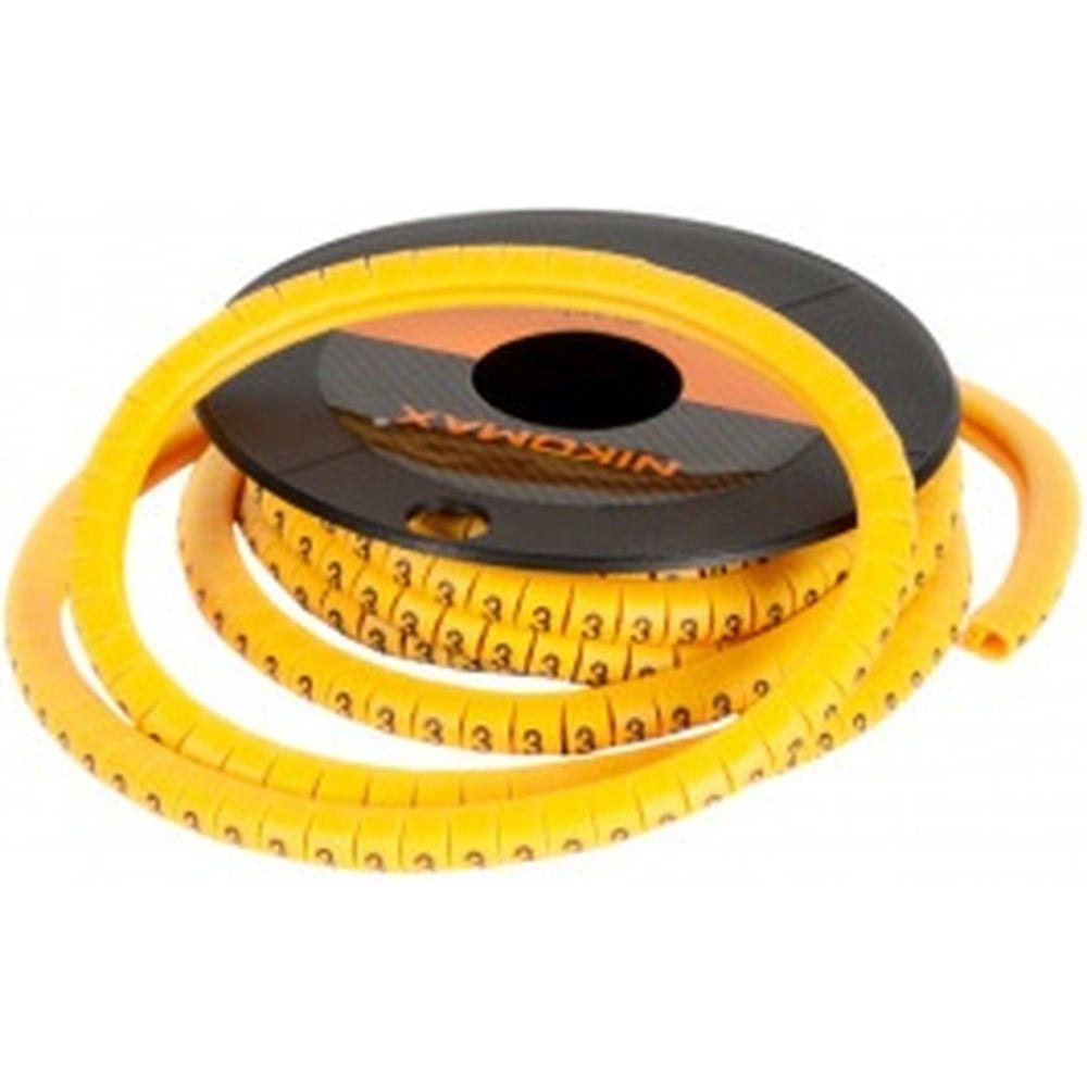 Кабельный маркер NIKOMAX, цифра 0, желтый, 500шт. NMC-CMR-0-YL-500