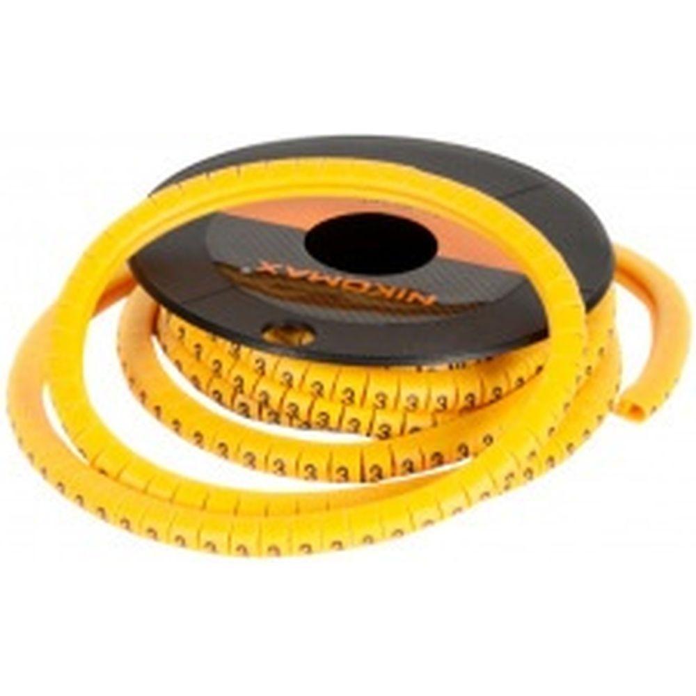Кабельный маркер NIKOMAX цифра 2, желтый, 500шт. NMC-CMR-2-YL-500