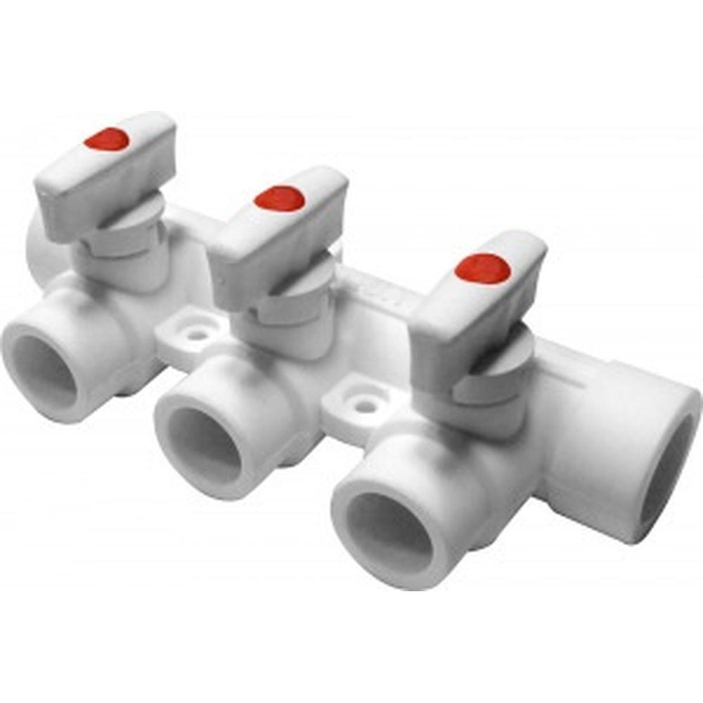 Коллектор PRO AQUA PP-R с 3 выходами, белый ШК 25-20 PA6710308Pb