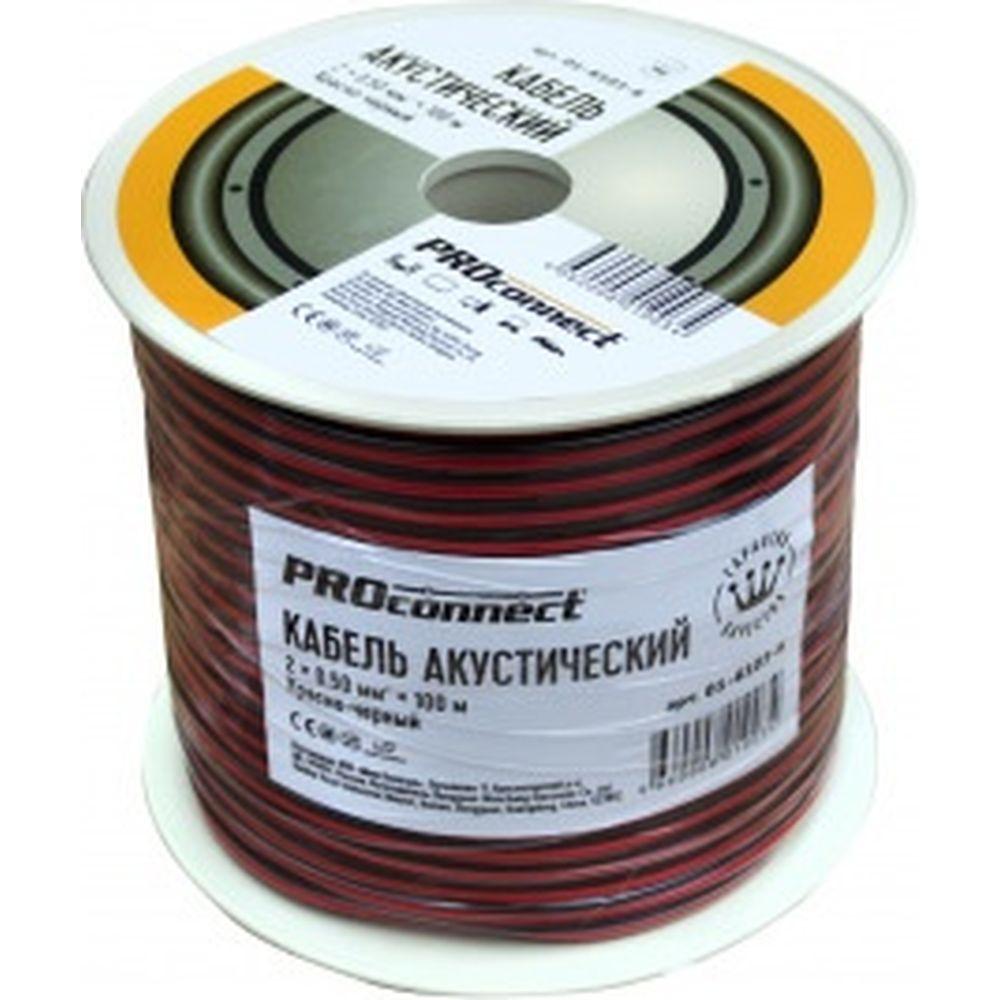 Акустический кабель 2х0.50 кв.мм, красно-черный, 100м PROCONNECT 01-6103-6
