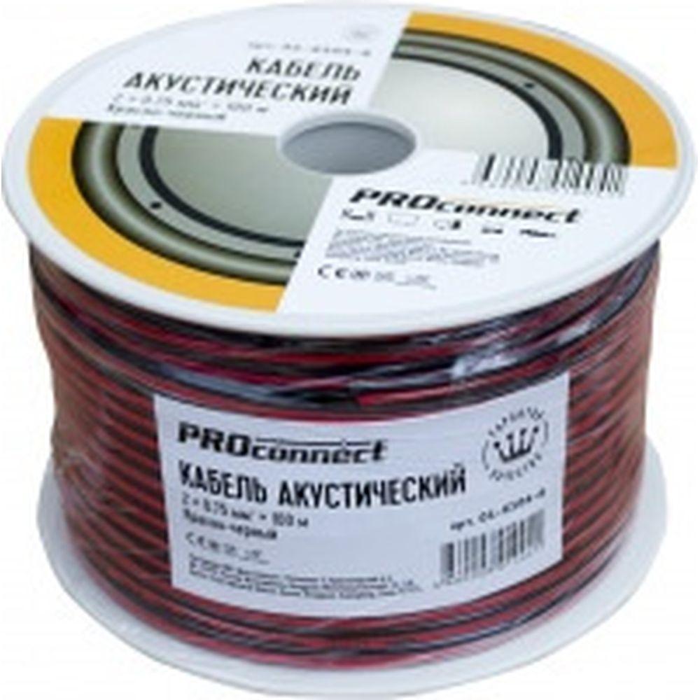 Акустический кабель 2х0.75 кв.мм, красно-черный, 100м PROCONNECT 01-6104-6
