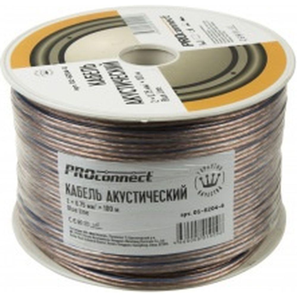 Акустический кабель 2х0.75 кв.мм, прозрачный, 100м PROCONNECT BLUELINE 01-6204-6