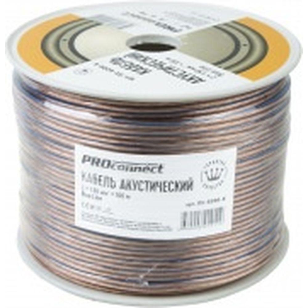 Акустический кабель 2х1.50 кв.мм, прозрачный, 100м PROCONNECT BLUELINE 01-6206-6