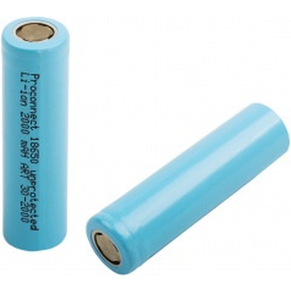Аккумулятор 18650, unprotected, Li-ion, 2000 mAH, пакет БОБ PROCONNECT 30-2000-01