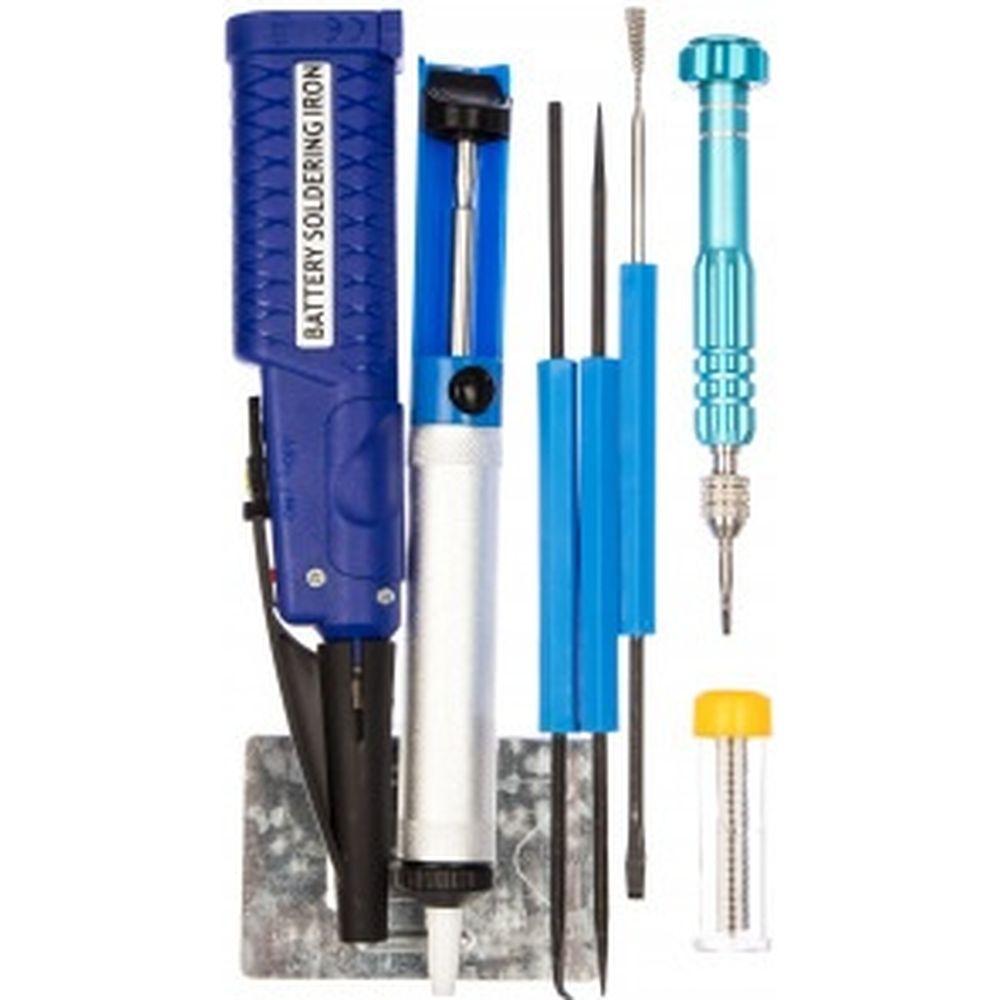 Набор для пайки: паяльник 8Вт, оловоотсос, подставка, припой, отвертка, интрумент для монтажа REXANT ZD-972E 12-0167