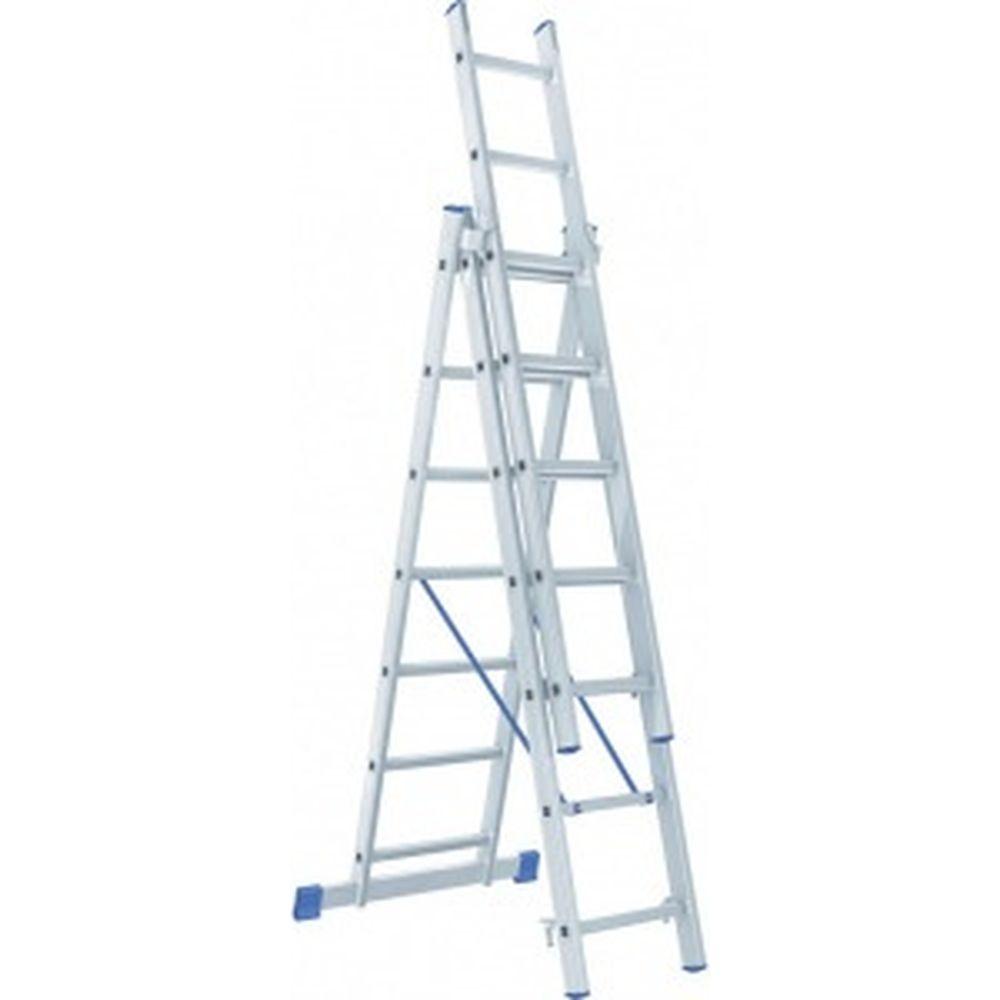 Алюминиевая трехсекционная лестница Pоссия 3x7 ступеней СИБРТЕХ 97817