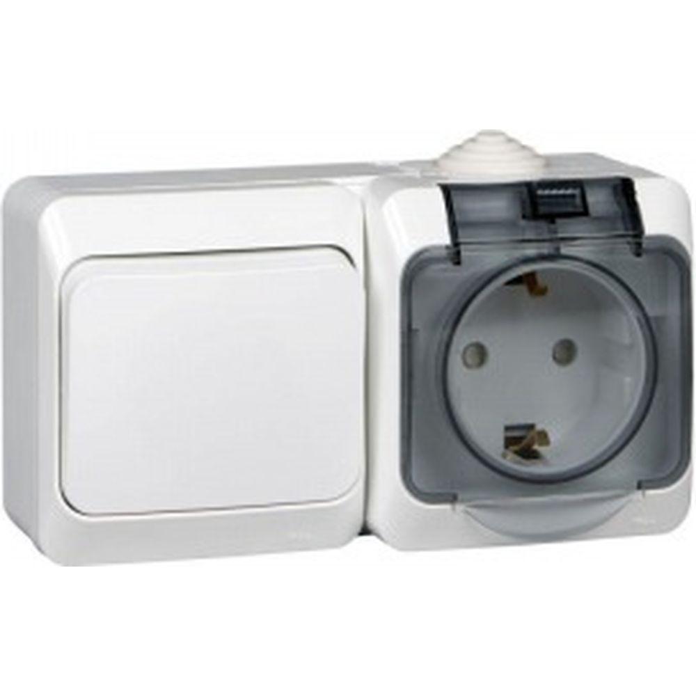 Блок Schneider Electric ОП Этюд IP44 белый, 1-клавишный выключатель+евророзетка з/ш SchE BPA16-241B