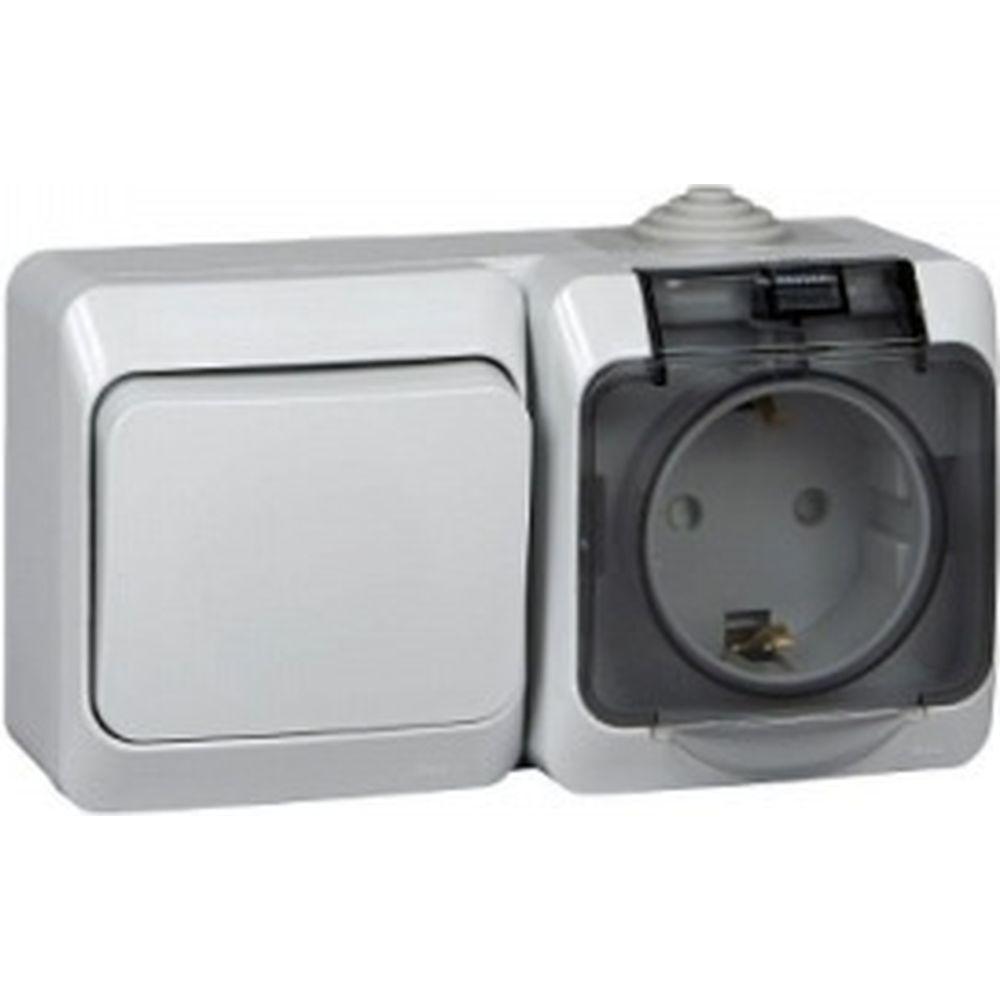Блок Schneider Electric ОП Этюд IP44 сер. 1-кл выкл.+евророз з/ш SchE BPA16-241C