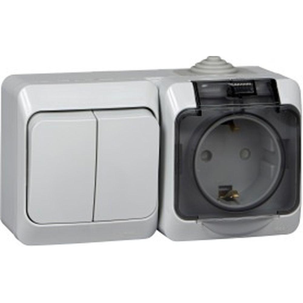 Блок ОП Schneider Electric Этюд 2-кл. выкл. + евророз. защ. шторки IP44 серый BPA16-242C