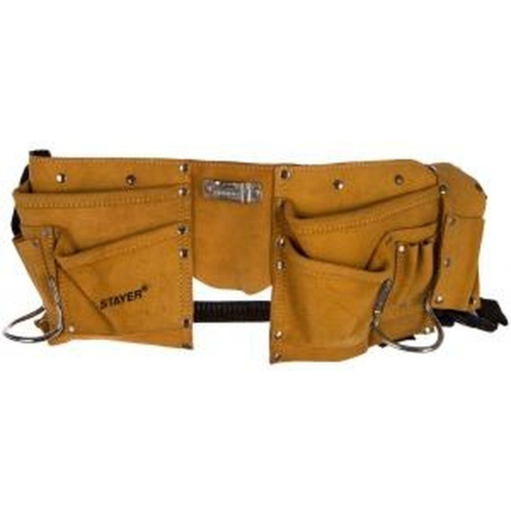 Кожаный пояс для инструментов MASTER, 10 карманов, 2 скобы STAYER 38510