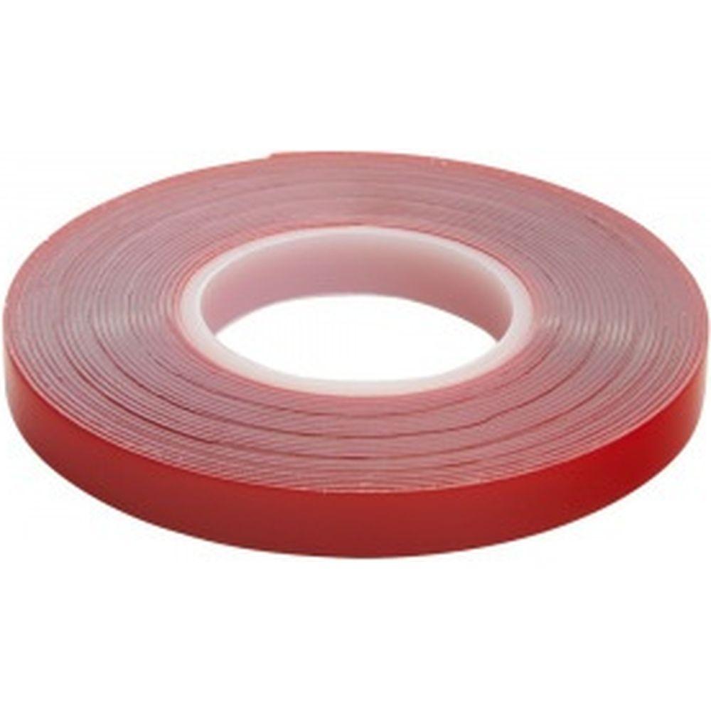 Акриловая двусторонняя клейкая лента STEKKER 0,8х9мм, длина 5м, прозрачный, красная подложка 39144