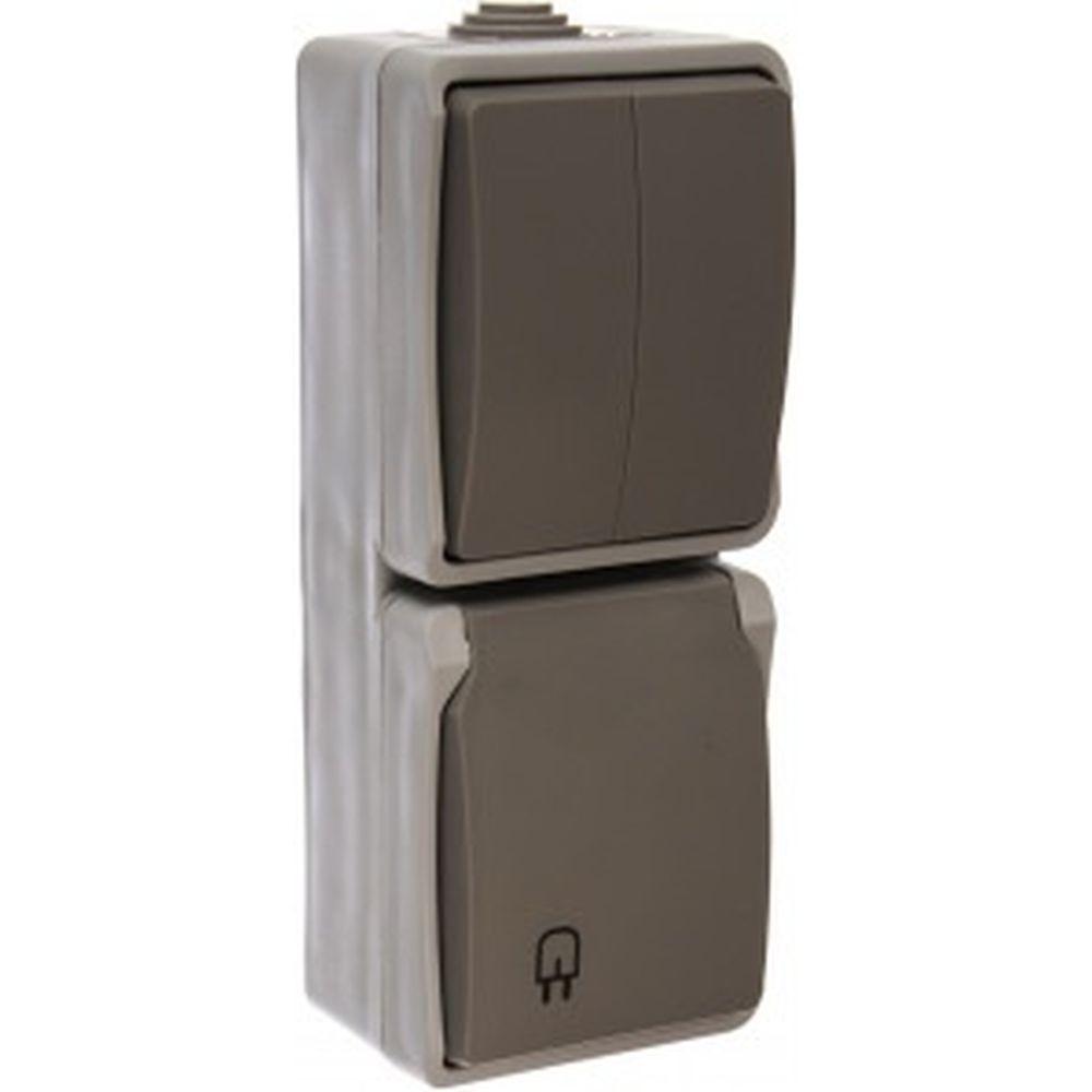Комплект: розетка с заземлением и защитной крышкой, двухклавишный выключатель СВЕТОЗАР АВРОРА SV-54325-W