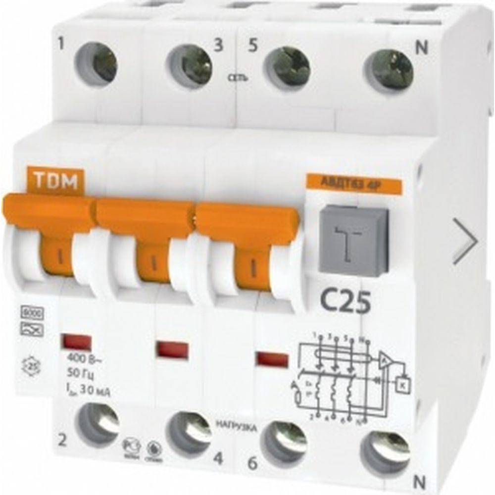Автоматический выключатель дифференциального тока TDM АВДТ 63 4P C 32А 30мА SQ0202-0019