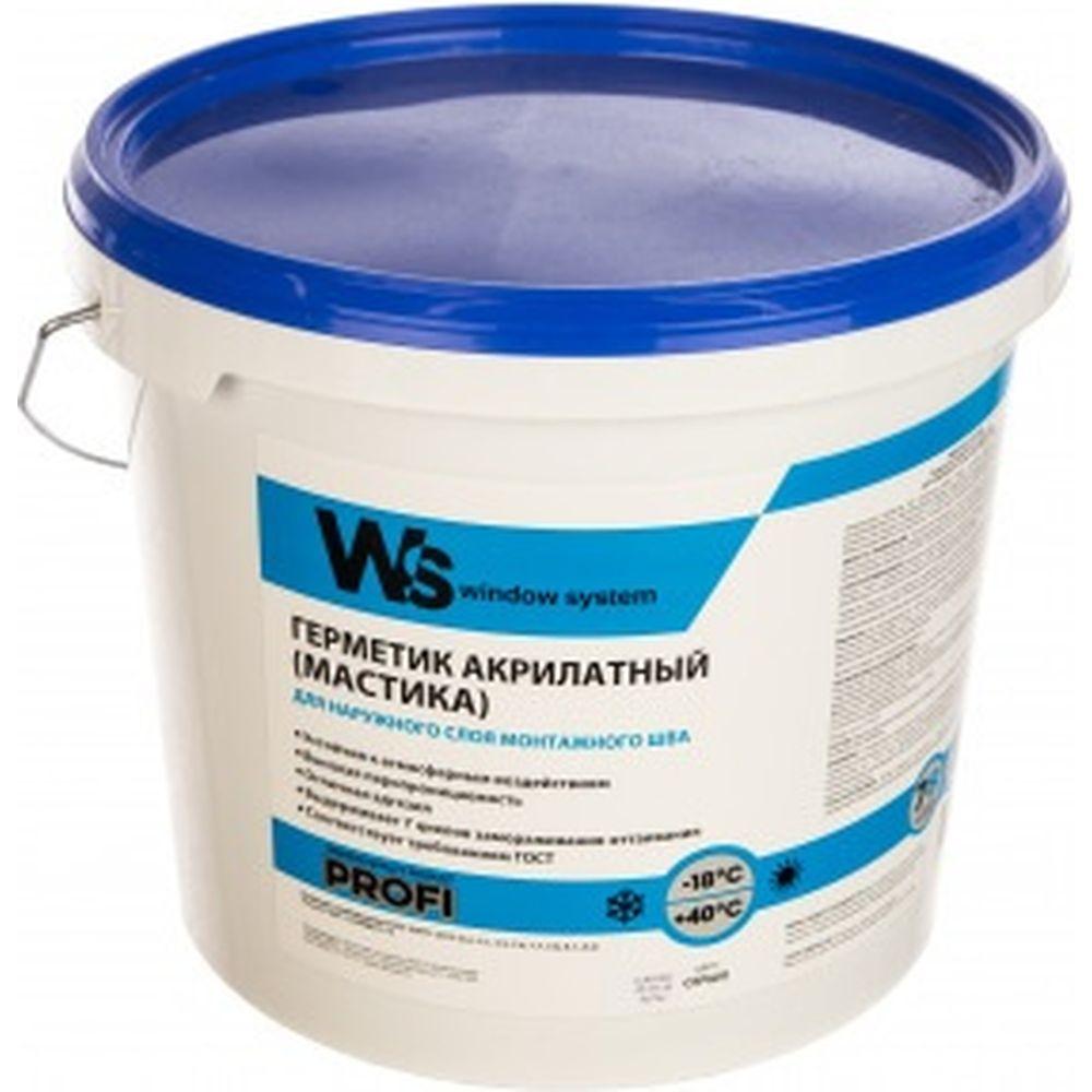 Акриловый герметик WINDOW SYSTEM цвет серый, ведро 7 кг WSoutgrey007